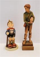 Hummel Little Hiker Figurine & Anri Wood Carving