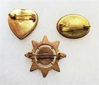 3 Vintage Italian Mosaic Jewelry Star Heart Pins