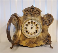 Antique New Haven Faux Marble Iron Clock  AS IS