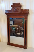 Antique Eastlake Victorian Walnut Wall Mirror