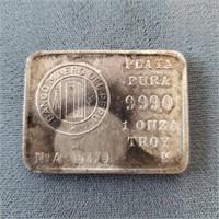 Banco Minero Del Peru 1 Troy Oz .999 Silver Bar