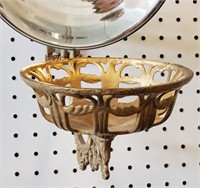 "Antique Cast Iron Lamp Bracket  8"" Glass Reflector"