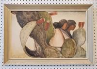 1954 Oil Painting Southwestern Women & Cactus