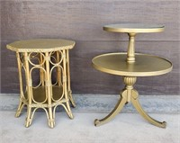 Two Gold Painted Vintage Stands
