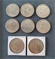 Eight US Eisenhower Dollar Coins
