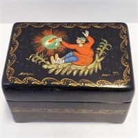 Hand Painted Signed Russian Lacquer Box & Pin