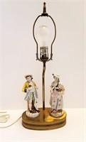"""Vintage 19"""" Colonial Man & Woman Vanity Lamp"""