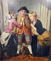19th C Painting UNWELCOME ATTENTION Calzado