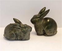 Pair Art Pottery Rabbit Figurines For Garden ?