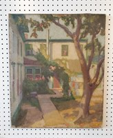 Early 20th C Arts & Crafts Painting of a Courtyard