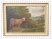 Antique Primitive Painting Cow in Field