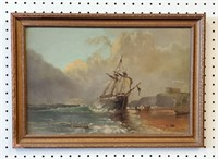 19th C European Painting Shipwreck Schrader Bach