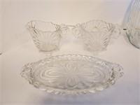 Vintage Jadite Sugar Bowl Crystal Plate Decanter
