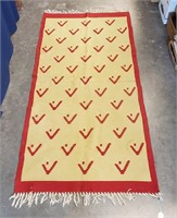 Interesting Antique Hand Woven Lodge Style Rug