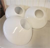 3 Big Retro Modernist White Ceiling Lamp Shades