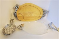 3 Serving Dishes & Duck Carving Board
