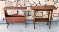 Wood Magazine Stand & Table & 1970s End Table