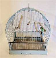 Two Vintage Hendryx Bird Cages Blue & Gold