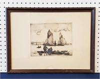 Vintage Etching Maritime Scene Gordon Hope Grant