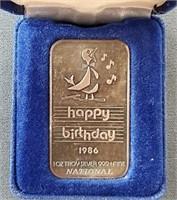 2 Happy Birthday 1 Troy Ounce .999 Silver Bars