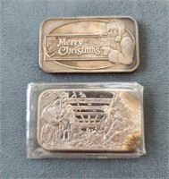 TWO Merry Christmas 1 Troy Oz .999 Silver Bars