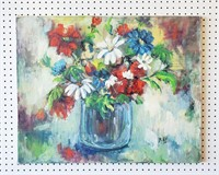 Still Life Oil Painting Flowers M. Hill Casper ?