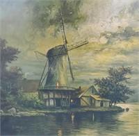 1929 Ottenfeld Dutch Windmill Print in Moonlight
