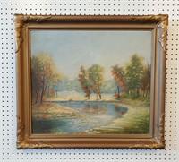 Antique Landscape Oil Painting Trees in Autumn