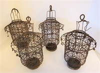 """Four 13"""" Hanging Wire Chinese Wedding Lamps"""