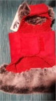 "Fancy red ultrasuede coat w/ faux trim XXS S=8"" Re"