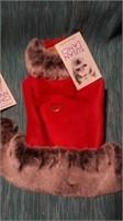 """Fancy red ultrasuede coat w/ faux trim S=8""""reg $70"""