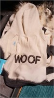 """White Woof jacket with hood size XL, L=13"""" Reg $30"""