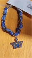 11 Blue chain/ribbon crown necklaces S/M/L.