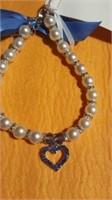 5 Pearl pet necklaces blue heart S/M/L