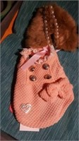 Pretty peach coat with pearl/fur collar size 3