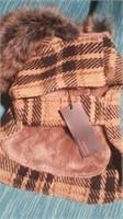 """Brown plaid coat fur trim hood S 8"""" Reg $95"""