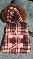 """Black/Pink plaid coat fur trim hood S med=10"""" Reg"""