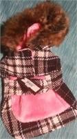 "Black/Pink plaid coat fur trim hood M med=10"" Reg"