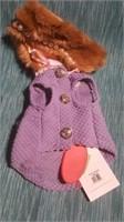 "Mauve coat w/ fur collar sz 4 Reg $65 size 3=9.5"""