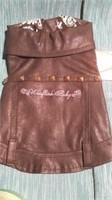 "Black leatherette coat size 5 = 12.5"" Reg $58"