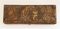 Two Flemish Art Pyrography Boxes Indian & Flowers