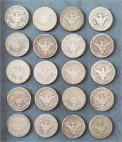 20 US Barber & 1 Liberty Seated Silver 1/2 $ Coins