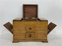 Antique handcrafted wood smoking box