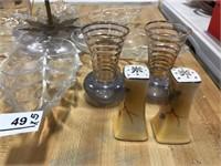 Glass Vases (2), S & P- Japan, Glass Server