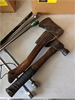 Lot of Tire Irons and Carpenters Axes