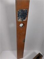 """Antique 28"""" Stanley Wood & Brass Level.  1907"""
