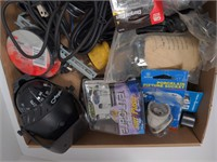 Flat of Various Electrical Supplies-Clips, Cords,