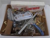 Flat w/Vtg Faucet & Door Handle Parts