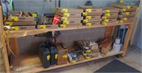 8' Custom Wooden Work Bench on Casters.  Contents