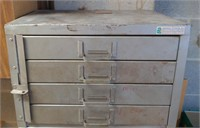 Vtg Lockable 4-Drawer Parts Cabinet w/Contents by